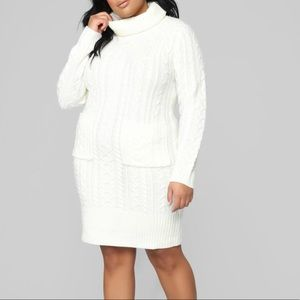 Dresses & Skirts - Ivory cable knit sweater dress
